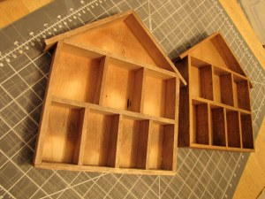 The shelves before their crafty makeover
