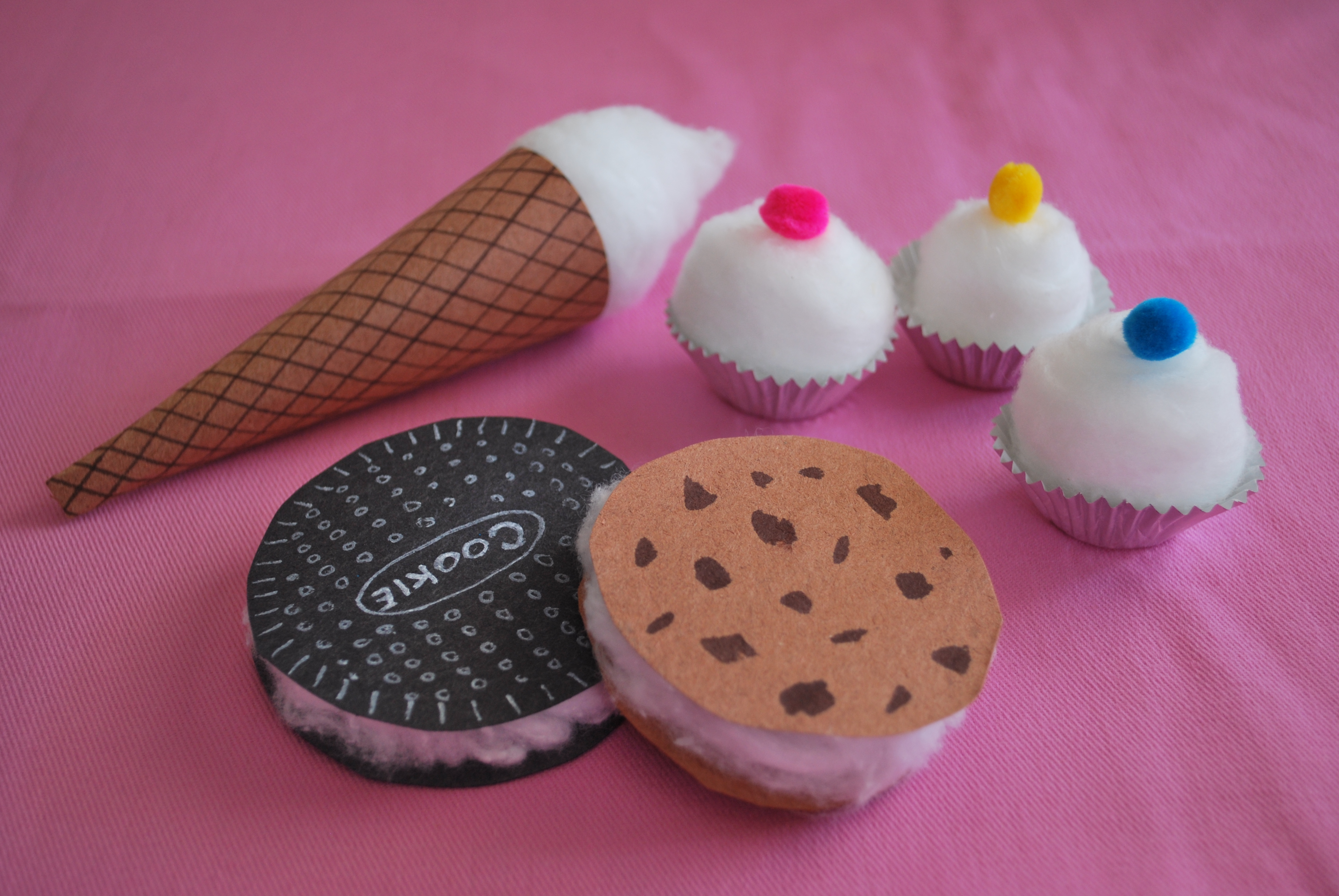 Cotton Cookies Ice Cream Cone And Cupcakes